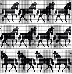 Billedresultat for horse knitting charts free Fair Isle Knitting Patterns, Fair Isle Pattern, Bead Loom Patterns, Knitting Charts, Knitting Stitches, Hand Knitting, Fair Isle Chart, Crochet Patterns, Cross Stitch Horse
