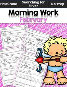 February Morning Work for first graders! Shapes, 10 more/less, word problems, capitalization, punctuation, plurals, science and more!