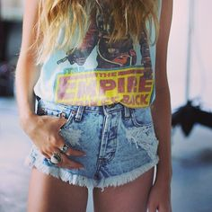 high wasted wash shorts with star wars tank