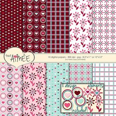 Valentines Day Digital Scrapbook Paper  Hearts by ToutAimee $6.39