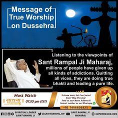 #MsgOfAadiRamOnDussehra वर्तमानं में भी सब माया संग्रह करने में लगे हैं। मनुष्य जीवन का मूल उद्देश्य परमात्मा का भजन भक्ति करके जीव कल्याण कराना था। ये ज्ञान केवल तत्त्वदर्शी संत अथवा सतगुरु ही दे सकता है। जो कि वर्तमान में संत रामपाल जी महाराज जी ही हैं। Hindu Quotes, Gita Quotes, Believe In God Quotes, Quotes About God, The Evil Inside, Dussehra Images, Hd Wallpapers 3d, Image Hd, Worship