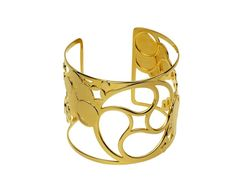 Crop Circle Cuff in Sterling Silver and Yellow Gold Vermeil