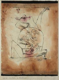 El patetismo de la Fertilidad  Paul Klee (alemán (nacido en Suiza), Münchenbuchsee 1879-1940 Muralto-Locarno)  Fecha: 1921 Medio: Acuarela y tinta transferida la impresión en papel, que limita con tinta Dimensiones: H. 14-7/8, W. 12 pulgadas (37,8 x 30,5 cm.) Clasificación: Dibujos Línea de crédito: La Colección Berggruen Klee, 1984