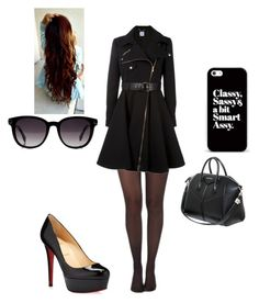 """""""IDK BUT it's cute right? or maybe not idk"""" by zanaya-mason ❤ liked on Polyvore featuring Pretty Polly, Moschino, Christian Louboutin, Givenchy and Fendi"""