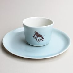 good morning breakfast set wee tea cup and 7.5 plate by gleenashop