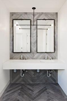 Modern Grey Herringbone Feature Wall in a upscale bathroom. Modern Master Bathroom, Office Bathroom, Modern Bathroom Design, Bathroom Interior Design, Small Bathroom, Gold Bathroom, Interior Modern, Washroom, Bathroom Sets