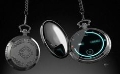 Luna (digital pocket watch)  This was my entry for an Nvidia challenge  A retro look into the future. The Luna pocket watch is a small sophisticated device capable of networking, checking emails and of course giving you the time when you need it the most. With its rotate pivot on the back you can slide it out for typing capabilities.