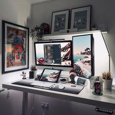 Home Studio Setup, Home Office Setup, Home Office Design, Computer Desk Setup, Gaming Room Setup, Study Room Design, Game Room Design, Simple Computer Desk, Nerd Room