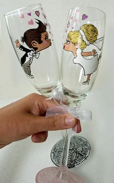 Hand painted  Wedding Bridesmaids Wine Goblets by AlenaShop, $41.99