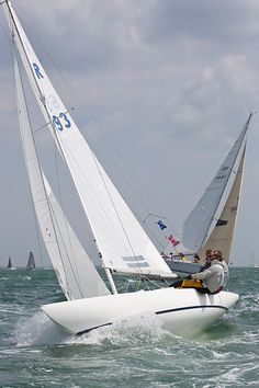 The Dragon class sailboat 'Virago' racing in the Solent during Cowes Week 2013.