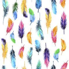 Rainbow Feathers | Removable Wallpaper | WallsNeedLove