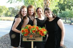 Orange gerbera daisies and lime green spyder mums bridesmaid bouquets www.everafterfloral.com