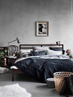 Dormitorios decorados en gris, azul y blanco
