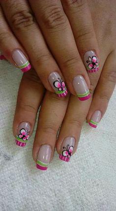 Butterfly Nail Art, Flower Nail Art, Chevron Nails, Nail Tutorials, Mani Pedi, Nail Arts, Pretty Nails, Acrylic Nails, Nail Designs