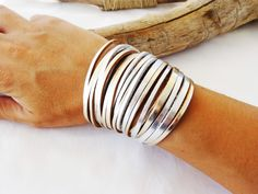 Multi-strand Leather Cuff, Silver and Bronze Genuine Leather, Wide Leather Wristband, Bangle Bracelet by What2WearByNana on Etsy