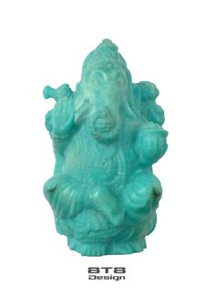 Beautiful Ganesha Professionally Hand Carved in Sleeping Beauty Turquoise 75.95 carats! Pirus FREE Shipping Worldwide!!