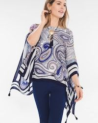 Striped Paisley Poncho