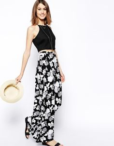 Enlarge ASOS Maxi Skirt In Mono Floral Print