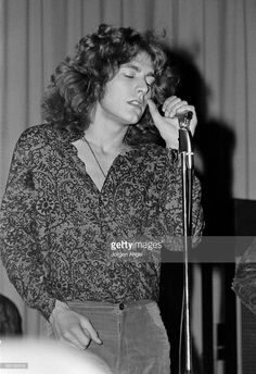 Robert Plant of Led Zeppelin performs on stage at Gladsaxe Teen Club on March 17th 1969 in Copenhagen, Denmark.