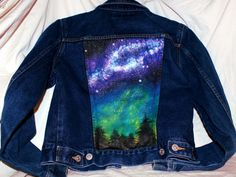 Upcyled Medium Denim Jacket - Milky Way Forest This Express brand denim jacket was hand painted with an original night sky design that you cannot find anywhere else! Save water, shop artists who restyle and recycle!