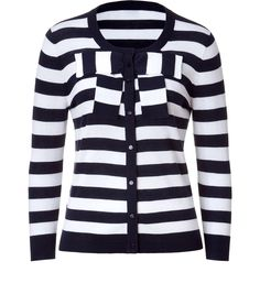 Navy Stripe Bow Cardigan