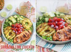 siracha lime chicken salad with lime vinegarette Lime Vinaigrette 1/3 cup light olive oil 1/4 cup apple cider vinegar 2 limes, juiced 2 tsp raw honey Dash Himalayan sea salt