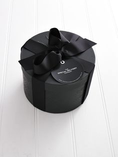 The Special Delivery Company Hat Box with black ribbon. Available from www.thespecialdeliverycompany.com.au