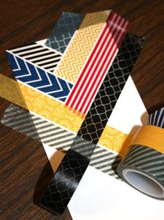 Close up of how to get the ends of the washi in perfect alignment for with slight white space between intersecting lines in the chevron pattern . Scrapbooking Layouts, Scrapbook Cards, Project Life, Washi Tape Cards, Idee Diy, Tape Crafts, Origami, Scrapbook Embellishments, Tapas