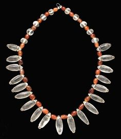 A ROMAN OR PARTHIAN ROCK CRYSTAL AND CARNELIAN BEAD NECKLACE Circa 1st-2nd Century A.D.