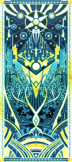 [Mass Effect] The Reaper War: Control Ending - Quarian Tapestry Art Style (blue/gold ver.) Art Print