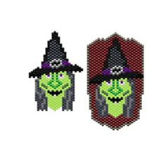 Witch Face Beaded Earring and Pendant/Pin Pattern | Bead-Patterns.com