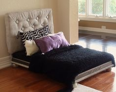 Modern Dog Bed  with Fabric Covered Headboard and (Free Custom Embroidery) 8 Pieces