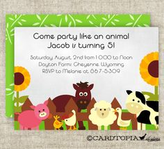 Farm BIRTHDAY PARTY Invitations Girl or Boy by Cardtopia Designs