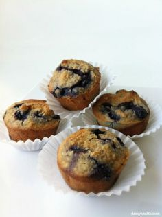 Almond Flour Blueberry Muffins      2 Cups Almond Flour     2 Eggs     2 Egg Whites     1/4 Cup Agave (Honey, Maple Syrup or Stevia)     1/2 Tsp Baking Soda     1 Tbsp Apple Cider Vinegar     Dash of Salt     1 Tsp Vanilla Extract     2 Tbsp Coconut Oil (or Other Healthy Oil)     1 Cup Blueberries