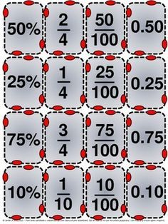 Decimals, Fractions and Percentages all in one for AFL Math Fraction Games, Math Games, Math Charts, Math Fractions, Maths, Math Math, Math Graphic Organizers, Kids Math Worksheets, Math Word Problems