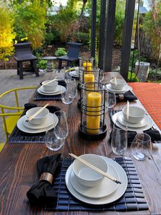 Transport dinner guests by setting your table to match the theme of your cuisine.