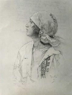 Alfons Mucha - fusain