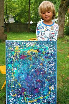 Marble Painting - easy and awesome! canvas/art board is put in a box to paint. I love the size--what a great feeling of satisfaction for a little person to be given the opportunity to make a great big painting.