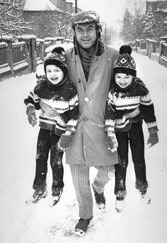 """A Czech film director Miloš Forman (Born: Czechoslovakia, 1932 - ) with his twin sons Peter and Matěj""  Photo: Stanislav Tereba  (Born: Czechoslovakia, 1938 - ) Czechoslovakia - Praha (Prague), Winter 1967/68"