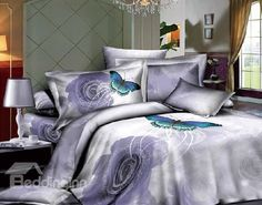 New Arrival Top Class 100% Cotton Butterfly Swirling around Purple Rose Reactive Print 4 Piece Bedding Sets