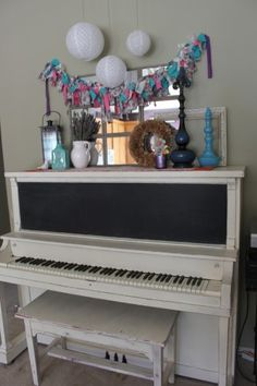 chalk painted piano..LOVE