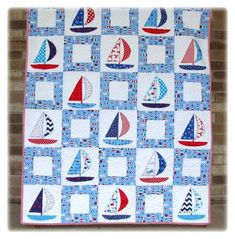 Quilt Baby, Sailboat Baby Quilt, Nautical Baby Quilt, Nautical Nursery, Patchwork Quilt Patterns, Applique Quilts, Applique Patterns, Coastal Quilts, Barn Quilts