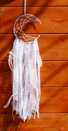 Crescent Moon White Dream Catcher with Feathers, Half Moon Wall Hanging
