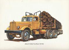 Mack truck hauling logs.