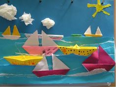 7 Fast And Easy Summer Decorating Ideas For Any Budget! Sea Crafts, Paper Crafts For Kids, Diy And Crafts, Arts And Crafts, Kindergarten Art, Preschool Crafts, Drawing For Kids, Art For Kids, Tapas