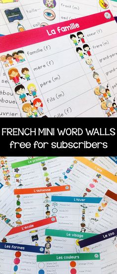 These FREE mini word walls will help them out! Learning French For Kids, Ways Of Learning, French Language Learning, Spanish Language, Learning Spanish, Learning People, Second Language, Learning Games, French Teaching Resources