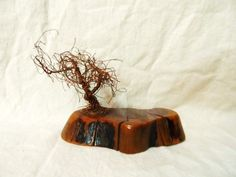 Copper Wire TREE SCULPTURE on Solid Wood Base by OrphanedTreasure