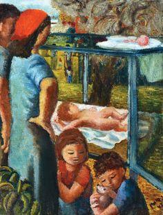 Yochanan Simon - Family in the Kibbutz (1942), Oil on canvas, 48X36 cm.