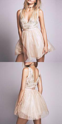 A-Line Dresses,Short Homecoming Dresses,Light Champagne Dresses,Beading Homecoming Dresses