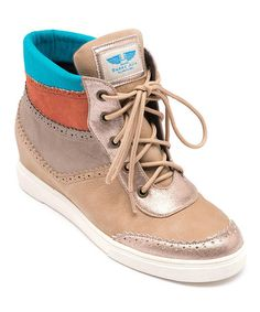 Another great find on #zulily! Beige & Blue Hi-Top Sneaker by LeBunny Bleu #zulilyfinds